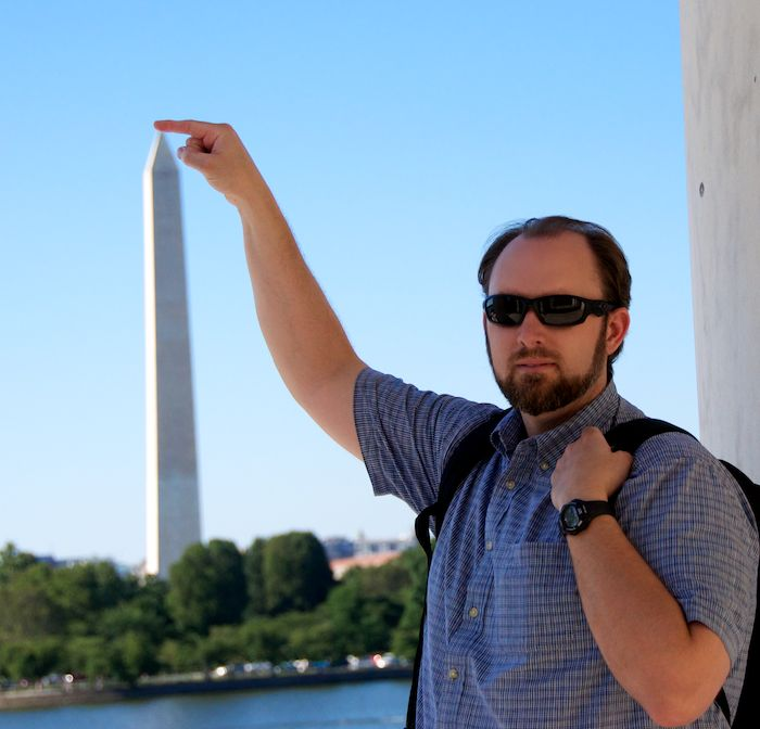 Strong james bends the washington memorial