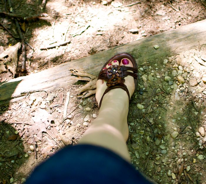 Sandals on trail